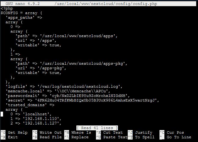 FreeNAS: Nextcloud WebUI Access through untrusted domain error